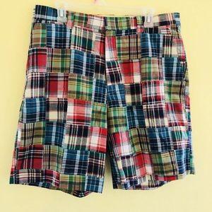 Orvis Madras Patchwork Plaid Men Shorts Men Sz 34
